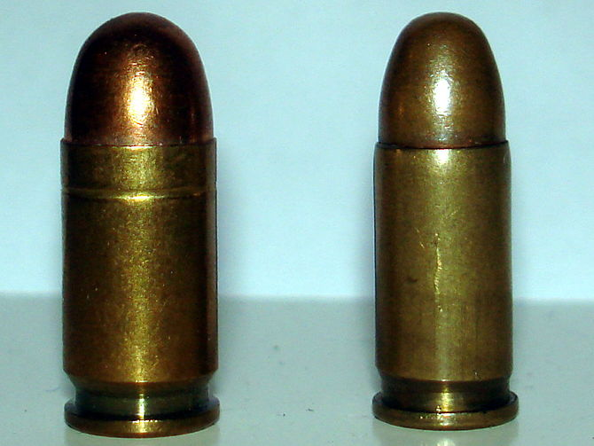 .380 ACP (left), compared to .32 ACP (right). ...